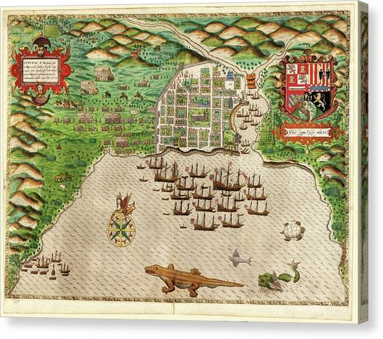 Destruction Island Canvas Print - Drake's Attack On Santo Domingo by Library Of Congress, Rare Book And Special Collections Division