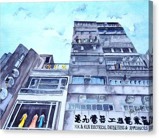 Drama Above The Street Level Shops Hongkong Canvas Print by Ruth Bodycott