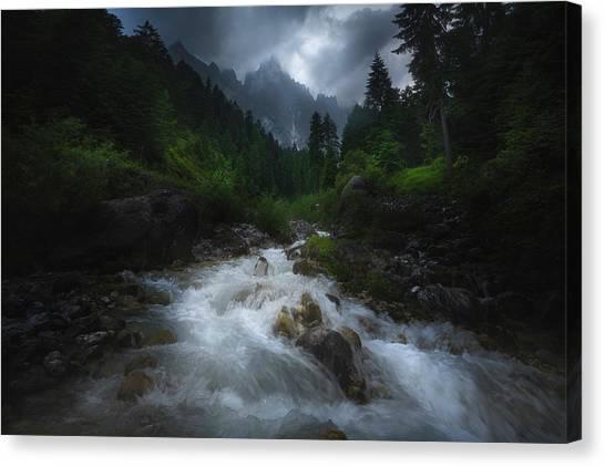 Dolomites Canvas Print - Drama In Dolomites #2 by Luca Rebustini