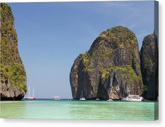 Phi Phi Island Canvas Print - Dramatic Rocks Of Maya Beach, Phi Phi by Pawel Toczynski