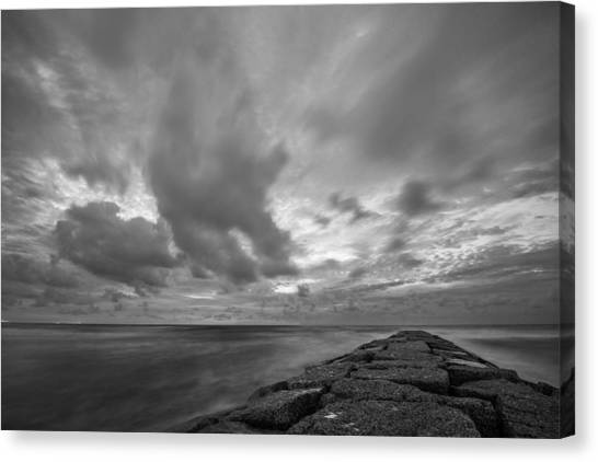 Dramatic Skies Over Galveston Jetty Canvas Print