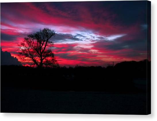 Dramatic Sky At Daybreak. Canvas Print