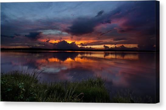 Dramatic Sunset At The Lake Canvas Print