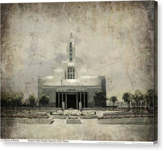 Draper Temple Stand In Holy Places Antique Canvas Print
