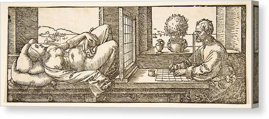Erotic Framed Canvas Print - Draughtsman Making A Perspective Drawing Of A Reclining Woman by Albrecht Duerer