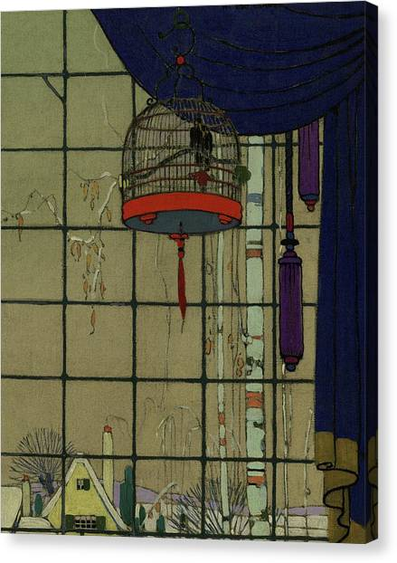 Drawing Of A Bid In A Cage In Front Of A Window Canvas Print