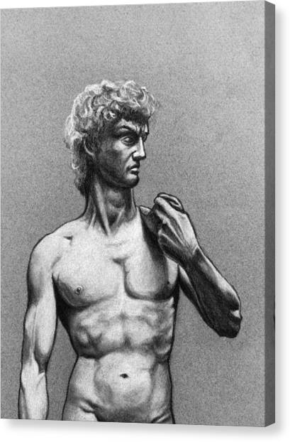 Drawing Of Michelangelos David Canvas Print