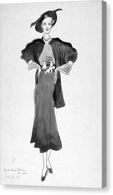 Drawing Of Model Wearing Marcel Rochas Dress Canvas Print by Cecil Beaton
