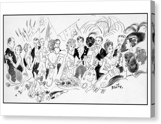 Drawing Of The London Society Dancing Night Away Canvas Print by Cecil Beaton