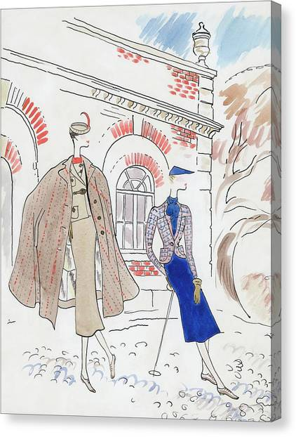 Drawing Of Two Women In Tweed Outfits Canvas Print by Cecil Beaton