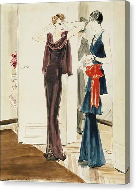 Indoors Canvas Print - Drawing Of Two Women Wearing Mainbocher Dresses by Rene Bouet-Willaumez
