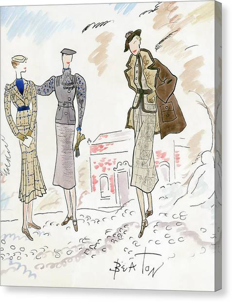 Drawing Of Women In Stylish Designer Outfits Canvas Print by Cecil Beaton