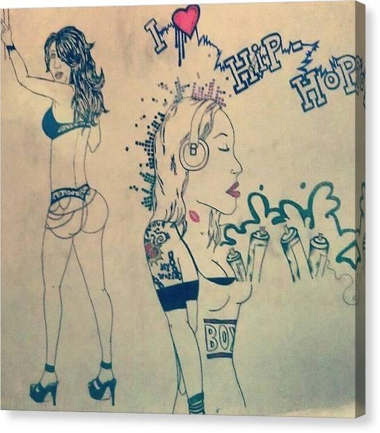 Headphones Canvas Print - Drawing On My Wall  by Sofiane El Kheloufi
