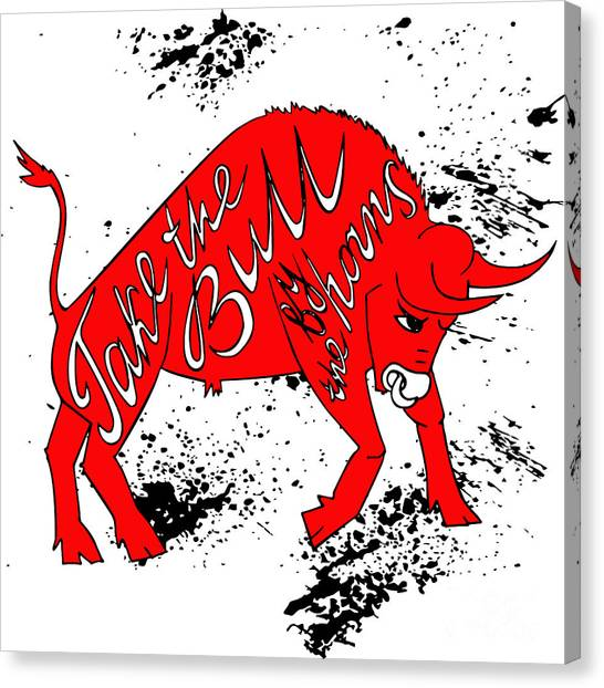 Drawing Red Angry Bull On The Grunge Canvas Print by Ana Babii