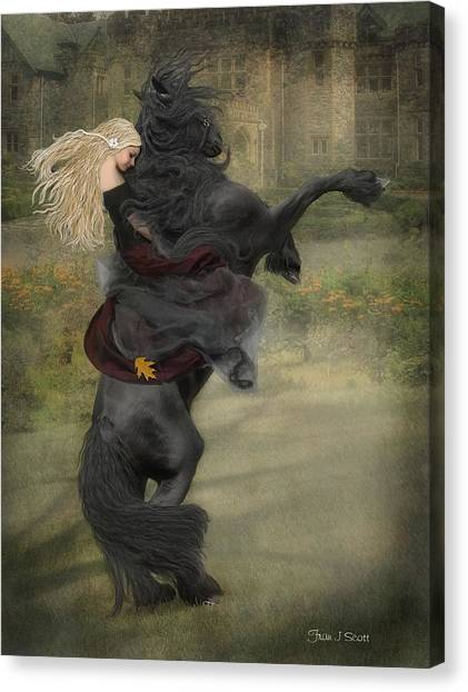 Black Stallion Canvas Print - Dream A Little Dream... by Fran J Scott