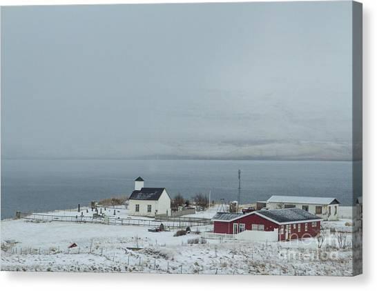 North Shore Canvas Print - Dream Beneath Winter Mist by Evelina Kremsdorf