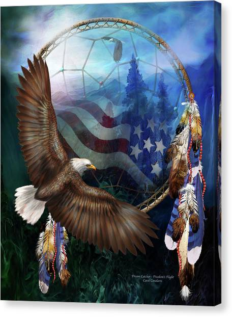 Catchers Canvas Print - Dream Catcher - Freedom's Flight by Carol Cavalaris