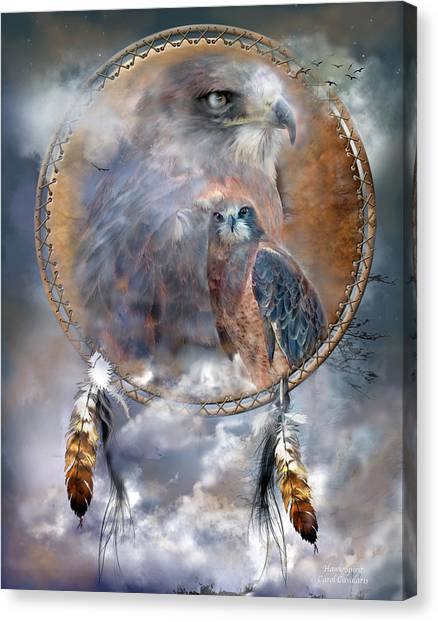 Catchers Canvas Print - Dream Catcher - Hawk Spirit by Carol Cavalaris