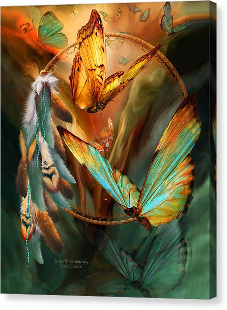 Catchers Canvas Print - Dream Catcher - Spirit Of The Butterfly by Carol Cavalaris