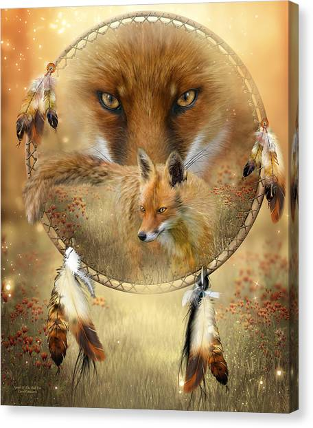 Catchers Canvas Print - Dream Catcher- Spirit Of The Red Fox by Carol Cavalaris
