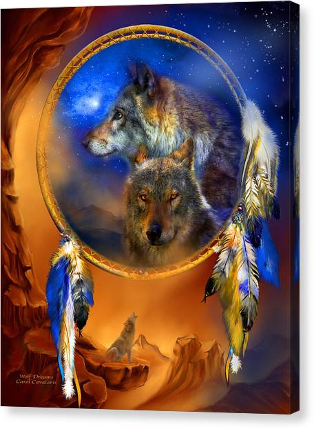 Howling Wolves Canvas Print - Dream Catcher - Wolf Dreams by Carol Cavalaris