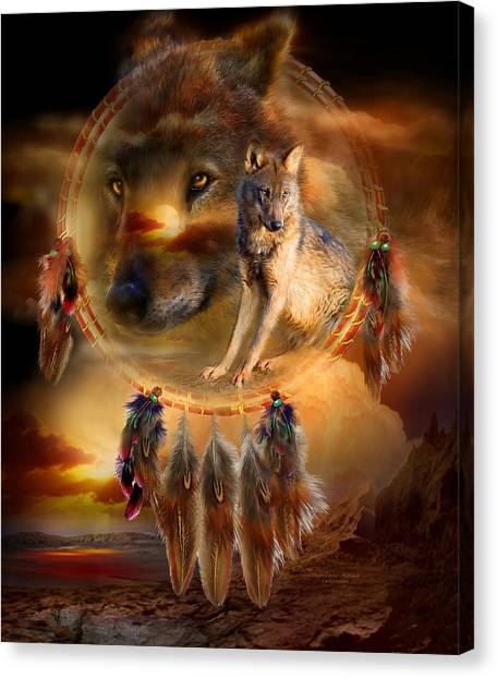Catchers Canvas Print - Dream Catcher - Wolfland by Carol Cavalaris