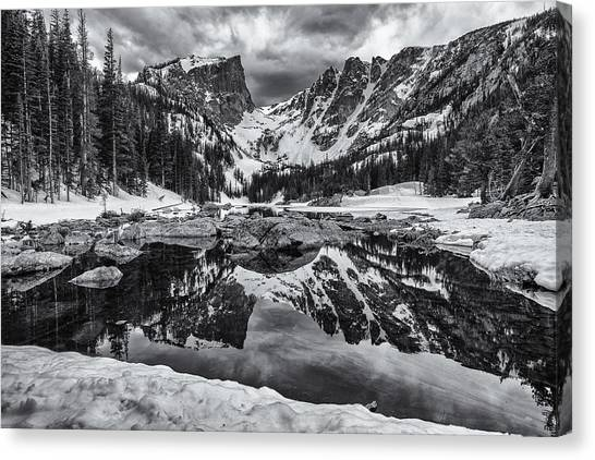 Colorado Rockies Canvas Print - Dream Lake Morning Monochrome by Darren  White