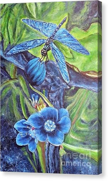 Dream Of A Blue Dragonfly Canvas Print