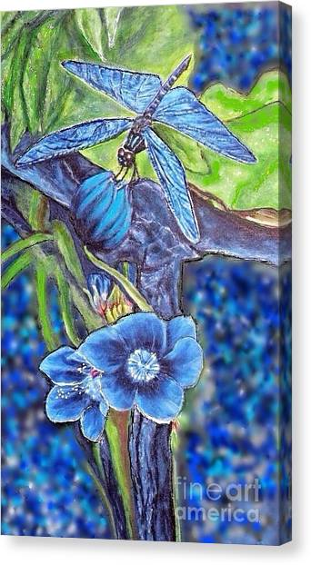 Dream Of A Blue Dragonfly Over Water Canvas Print