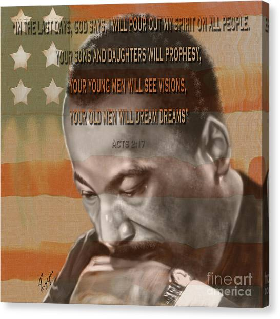 Dream Or Prophecy - Dr Rev Martin  Luther King Jr Canvas Print