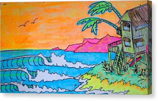 Surfboard Canvas Print - Dream Spot by Kim Hamrock