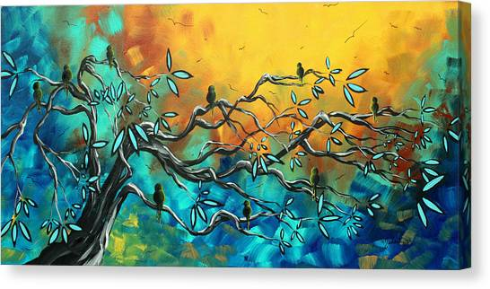 Canvas Print - Dream Watchers Original Abstract Bird Painting by Megan Duncanson
