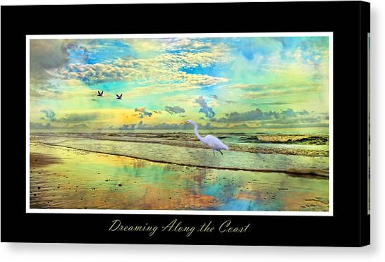 Tumbling Canvas Print - Dreaming Along The Coast -- Egret  by Betsy Knapp