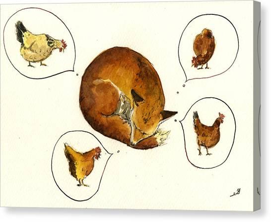Hen Canvas Print - Dreaming Fox by Juan  Bosco