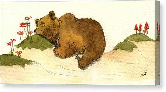 Brown Canvas Print - Dreaming Grizzly Bear by Juan  Bosco