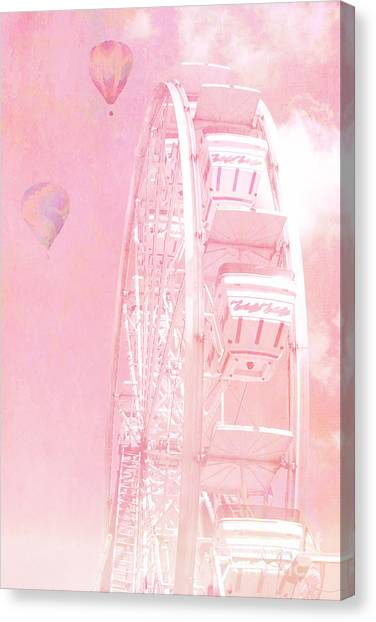 Dreamy Baby Pink Ferris Wheel Carnival Art With Hot Air Balloons Canvas Print