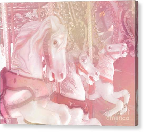 Dreamy Horse Canvas Print - Dreamy Baby Pink Merry Go Round Carousel Horses - Pink Carousel Horses Baby Girl Nursery Decor by Kathy Fornal
