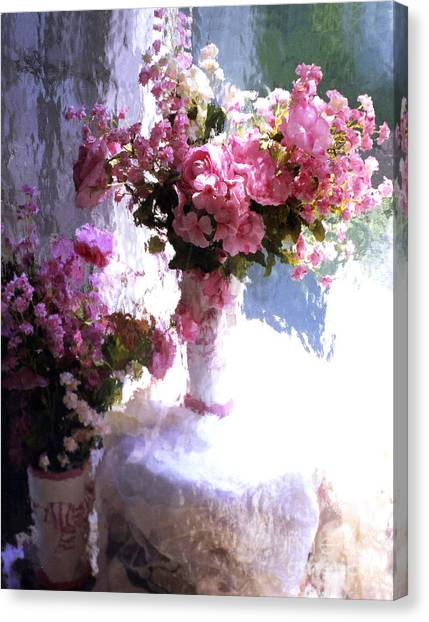 Dreamy Cottage Chic Impressionistic Flowers - Pink Roses Pink Vases Canvas Print by Kathy Fornal