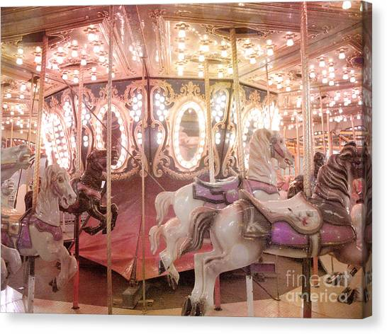dreamy pink carnival carousel merry go round horses festival