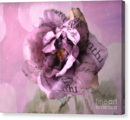 Impressionistic Canvas Print - Purple Pink Lavender Impressionistic Rose - Shabby Chic Cottage Purple Lavender Rose Floral Print by Kathy Fornal