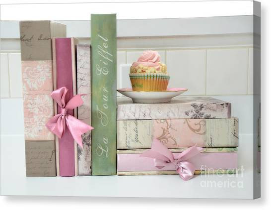 Print On Canvas Print - Dreamy Shabby Chic Cottage Chic Cupcake Books Print - Pink Cupcake Books Print Home Decor by Kathy Fornal