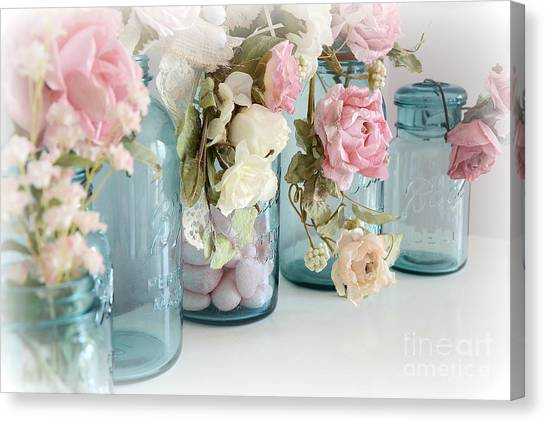 Mason Jar Canvas Print - Shabby Chic Roses Blue Aqua Ball Mason Jars - Roses In Aqua Blue Mason Jars - Shabby Chic Decor by Kathy Fornal