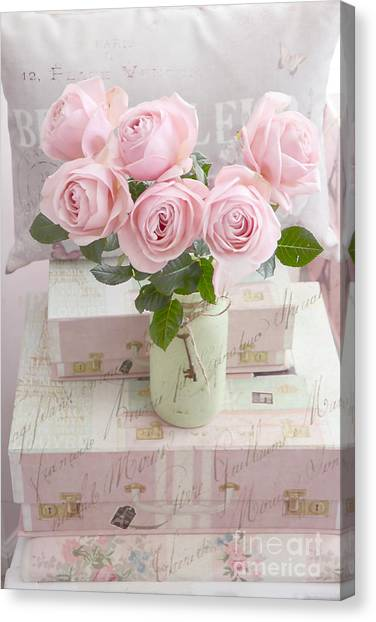 Impressionistic Canvas Print - Shabby Chic Cottage Pink Romantic Roses, Paris Pink Roses Shabby Chic Prints Home Decor by Kathy Fornal