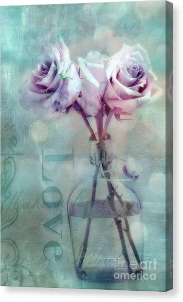 Roses Dreamy Shabby Chic Pink Roses Teal Aqua Impressionistic Cottage Pink Aqua Teal Love Roses Canvas Print