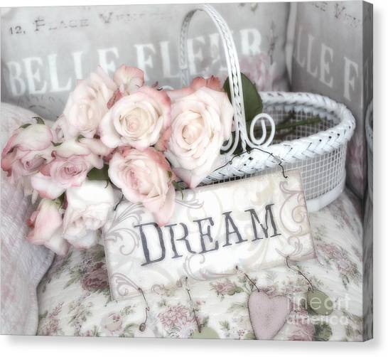 Dreamy Shabby Chic Romantic Cottage Chic Roses In White Basket  Canvas Print by Kathy Fornal