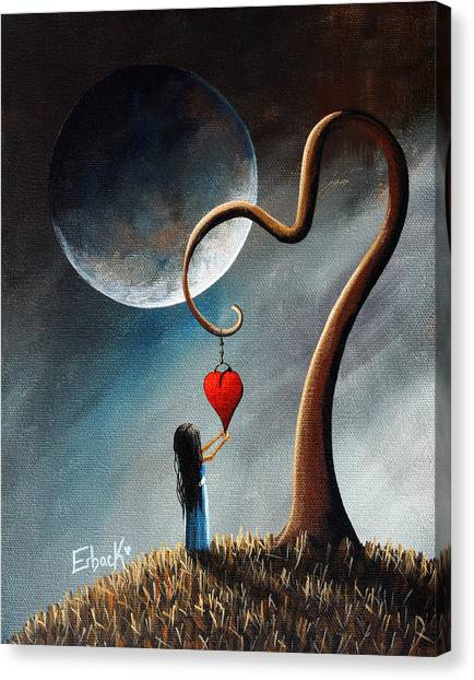 Full Moon Canvas Print - Dreamy Surreal Original Landscape Painting  by Erback Art