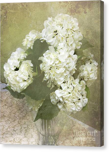 Impressionistic Canvas Print - Hydrangea Floral Vintage Cottage Chic White Hydrangeas - Shabby Chic Dreamy White Floral Art  by Kathy Fornal