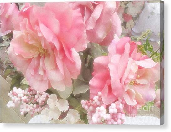 Dreamy Vintage Cottage Shabby Chic Pink Roses - Romantic Roses Peonies Canvas Print