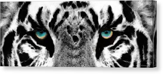 Clemson University Canvas Print - Dressed To Kill - White Tiger Art By Sharon Cummings by Sharon Cummings