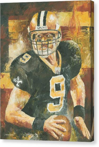 Drew Brees Canvas Print - Drew Brees by Christiaan Bekker